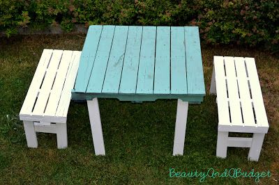 BeautyAndABudget: DIY Teal Pallet Furniture. Got the pallets, nails extra wood and Paint. New tables and benches for the lake!