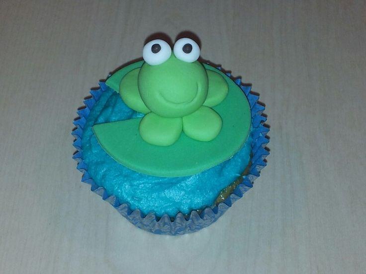 Frog cupcake for SPCA cupcake day 2013. Fondant frog, butter cream icing, chocolate cupcake.