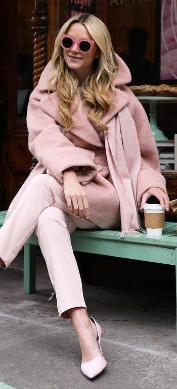 #winter #fashion / Pink Coat + Light Pink Pants + Pink Heels
