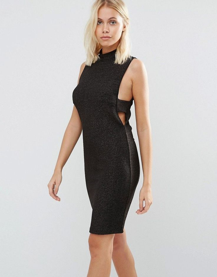 Vila Sleeveless Bodycon Dress With Cut Out Sides - Gold