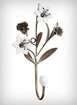 coat hook: Floral Hooks, Coats Hooks, Wall Hooks, Decor Wall, Metals, Ceramic Flowers, Flowers Hooks, Retro Style, Ceramics Flowers