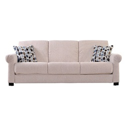 @Overstock - Comfortable and stylish, the transitional Rio Convert-a-Couch futon sofa features rolled arms and converts into a full size bed with the touch of a hand. The futon sofa is covered in a durable cream chenille fabric and works well in any decor.  http://www.overstock.com/Home-Garden/Rio-Convert-a-Couch-Cream-Chenille-Rolled-Arm-Futon-Sofa-Sleeper/6172405/product.html?CID=214117 $505.99