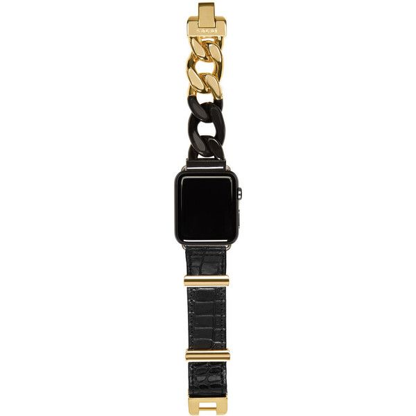 Sacai Black and Gold Apple Watch Band (21,255 DOP) ❤ liked on Polyvore featuring jewelry, watches, black gold watches, black and gold watches, snap button jewelry, lock jewelry and black gold jewelry