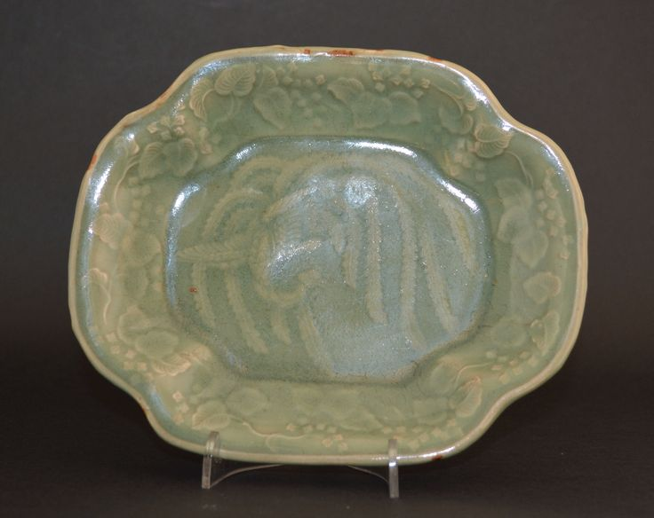 A 17th Century Japanese Celadon Glazed Porcelain Dish c ...