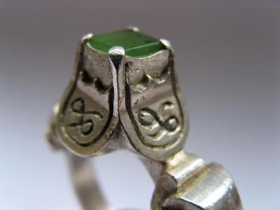 quatrefoil ring New Zealand jade stone