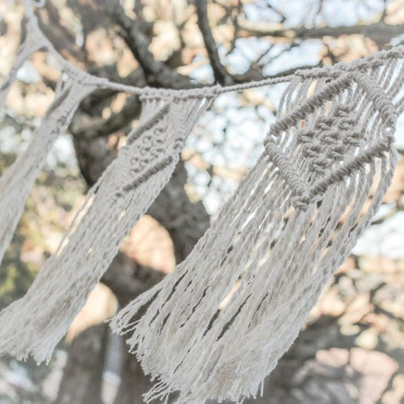 This macrame bunting is handmade using recycled cotton cord in natural ecru - lovely for wedding / party decor or to pretty up a spot in your