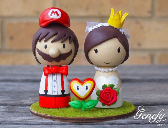Cute Super Mario wedding cake topper with love flower- Bride with Crown and Groom on Etsy, $195.66