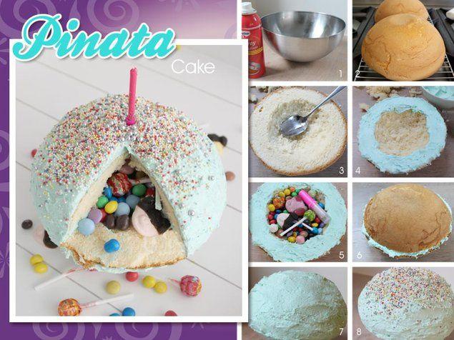 Piñata Cake  -  Een bolvormige gekleurde cake gevuld met traktaties zoals snoep en kleine cadeautjes. Leuk voor een kinderverjaardag!