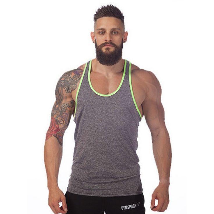 Tank Tops  2017 tank top men vest Solid bodybuilding shirts shark men vest singlet men fitness cheap throwback jerseys brand-clothing ** AliExpress Affiliate's Pin. Click the VISIT button for detailed description