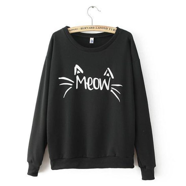 Charm Women Long Sleeve MEOW Print Tops Jacket Coat Cozy Sweatshirts *** Click the image to visit the website