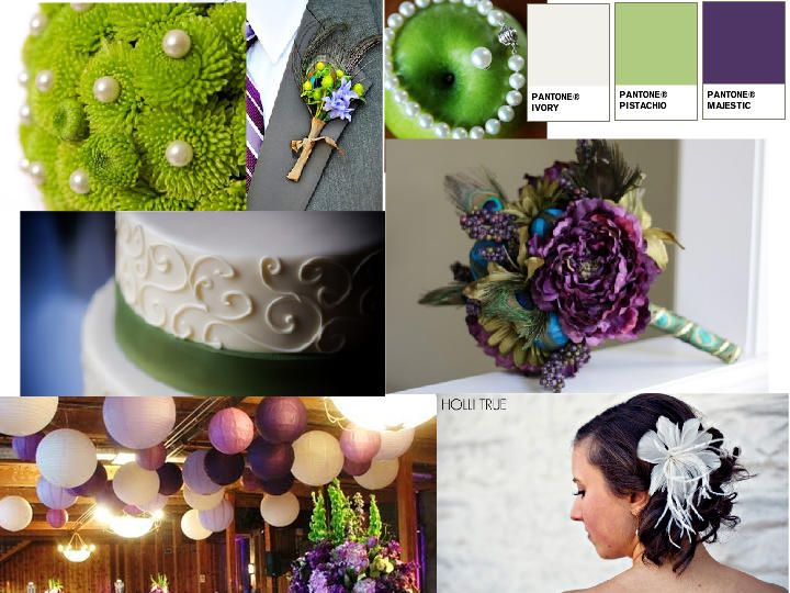 Pantone Majestic. Love the flower centerpiece and the decorations hanging from the ceiling!