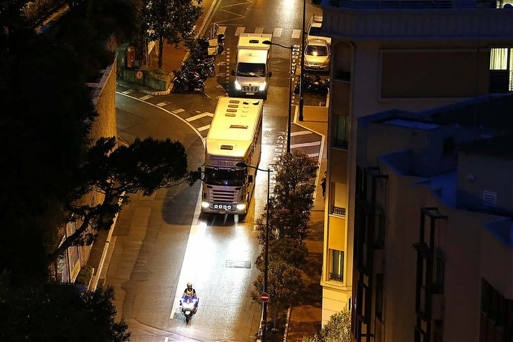 A police escort for the lorries as they enter Monte-Carlo #showjumping #LGCTMonaco