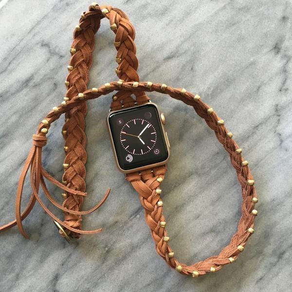 The Kristi Boho Braided Leather Wrap Apple Watch Band Spark