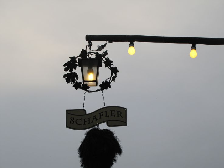 A heuriger--delightful family-owned restaurants in the region outside of Vienna that serve wine from their vineyards. The light tells customers that they are open.
