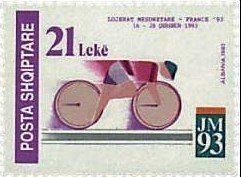 Stamp: Cycling (Albania) (Mediterranean Games 1993. Languedoc-Roussillon) Mi:AL 2533,Sn:AL 2446,Yt:AL 2304