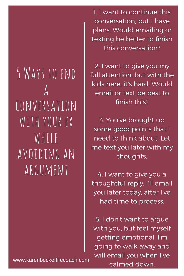 Struggling with how to end a conversation with your ex? Here are 5 ways. #coparents #coparenting www.karenbeckerlifecoach.com