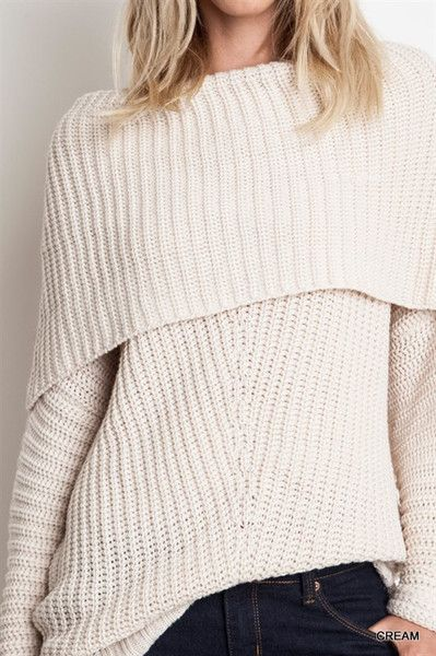 Smolder Off the Shoulder Oversize  d Sweater - Cream