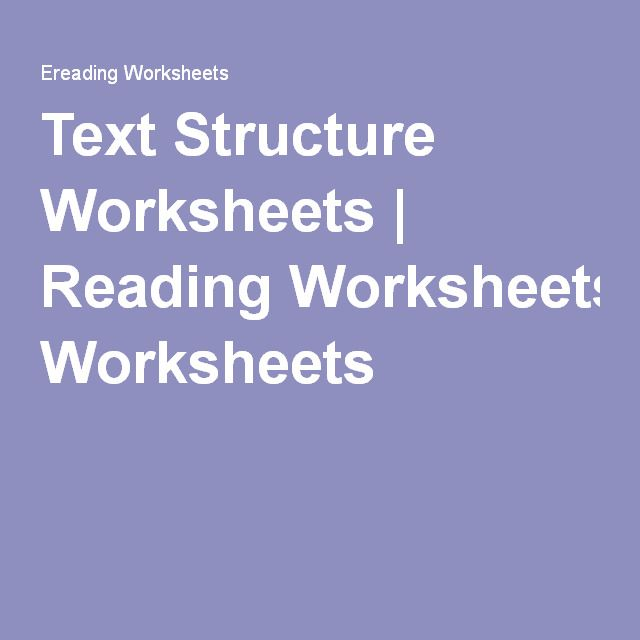Text Structure Worksheets   Reading Worksheets