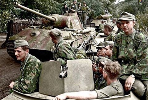 Sd.Kfz 251/3 and Panzer V 'Panther' of Kampfgruppe Mühlenkamp:  from 5.SS-Pz.Div. 'Wiking' (consisting of SS-Pz.Rgt. 5 and III. Btl. SS-Pz. Grenadier Regt. 'Germania') in Eastern Poland during 'Operation Bagration', July 1944. (Colourised by Doug)  #ww2 #worldwar2  #worldwarii  #America #American #German #german #russian #japanese #japan  #IJA #nazi #tanks