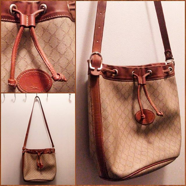 Vintage Longchamp leather bucket bag.
