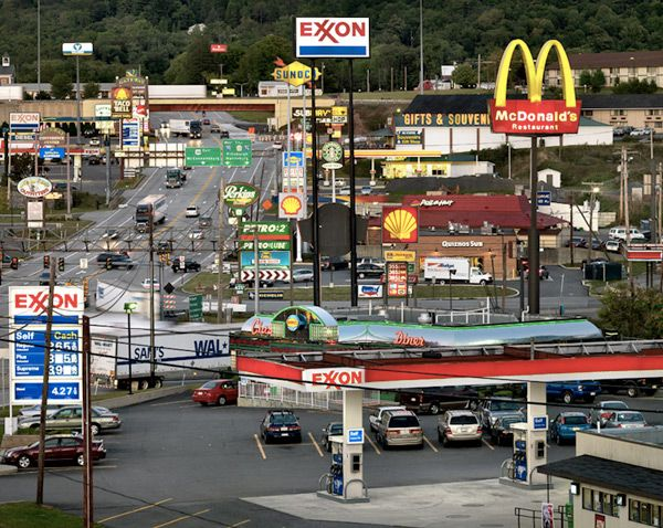 Breezewood, PA...The cluster you pull into, before the turnpike.Edward Burtynsky, Edwardburtynski, Photos Gallery, Burtynsky Breezewood, America, Places, Roads Trips, Usa, Photography
