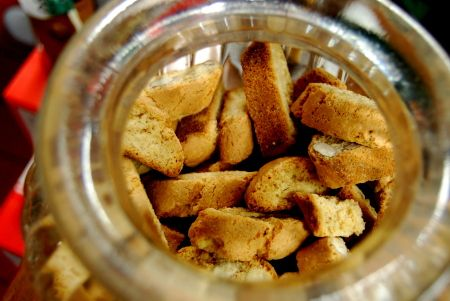 Cantucci, crispy almond biscuits dipped in Vin Santo, a traditional dessert wine similar to Malvasia.