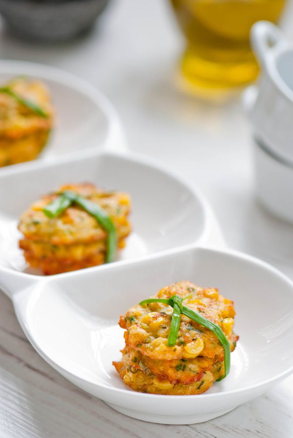 corn fritter - ohhh I have to make these. What a great vegetarian app!