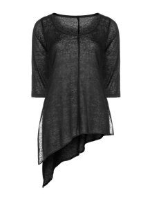 Isolde Roth Linen shirt with asymmetrical cut in Black