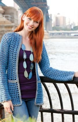 Any Day Cardigan crochet pattern by the Double Stitch Twins for Red Heart yarn