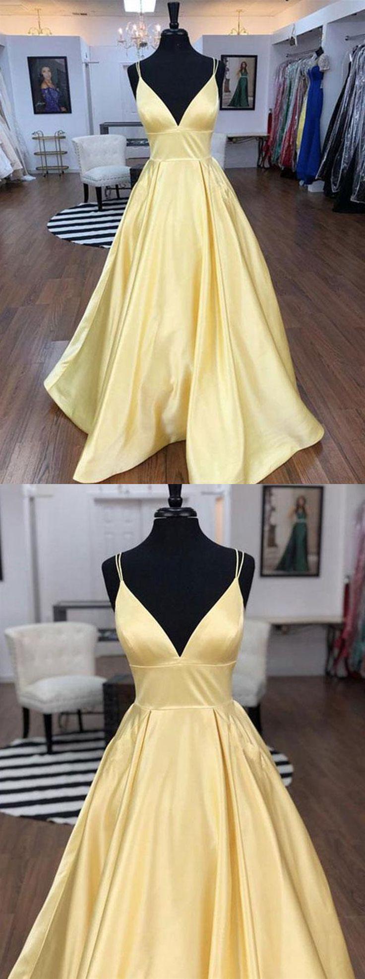 A Line V Neck Floor Length Yellow Prom Dresses, V Neck Long Yellow Formal Graduation Evening Dresses