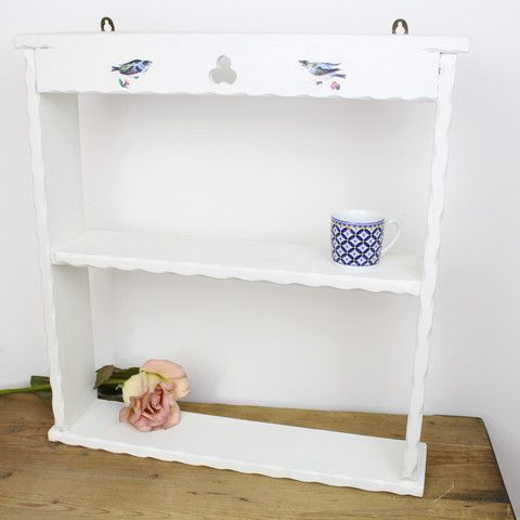 Hand Painted Vintage White Shelves with Bluebird Decoupage. Buy it here: http://www.tiddlerandfox.com/collections/furniture-2/products/hand-painted-vintage-white-shelves-with-bluebird-decoupgae