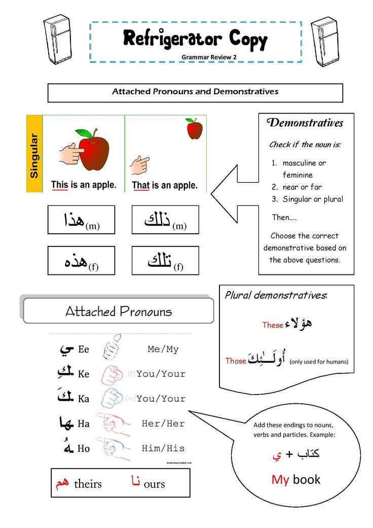 Fridge copy - Grammar review sheet: arabic attached pronouns, demonstratives. Please head over to www.arabicadventures.com for the free pdf.