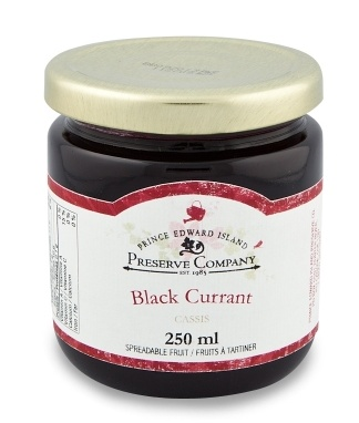 Black currant preserves from the PEI Preserve Company. Sizes & Prices:  125ml/4.4oz - $5.25 250ml/8.8oz - $7.50 http://shop.preservecompany.com/PR-BC.html