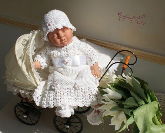 Christening girl GownBaptism DressCrochet by JozefinkaBoutique