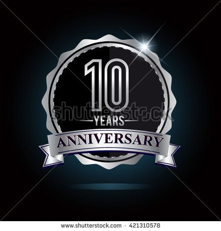 10th anniversary logo with ribbon. 10 years anniversary signs illustration. Silver anniversary logo with ribbon. - stock vector