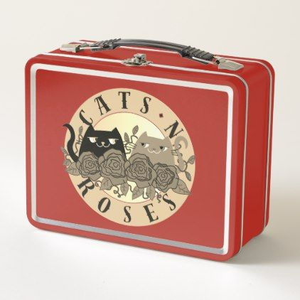 #Cats 'N Roses Rock Music Cartoon Funny Red Modern Metal Lunch Box - #floral #gifts #flower #flowers