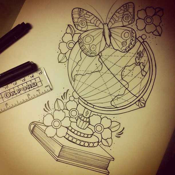 Globe on book - With travel tattoo, no flowers or butterfly.