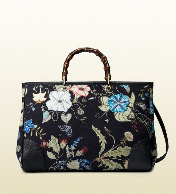 The perfect floral tote to lug around the city // Gucci Bamboo Shopper Glora Knight Canvas Tote