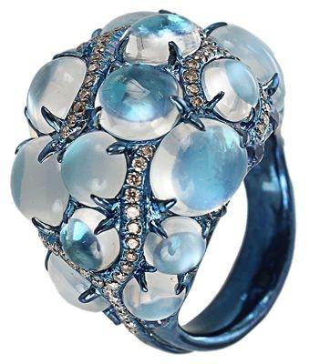 Arunashi Ring; moonstones and diamonds.