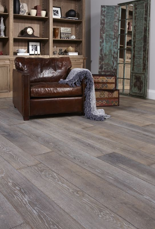 Gray Hardwood Floor with Leather Chair