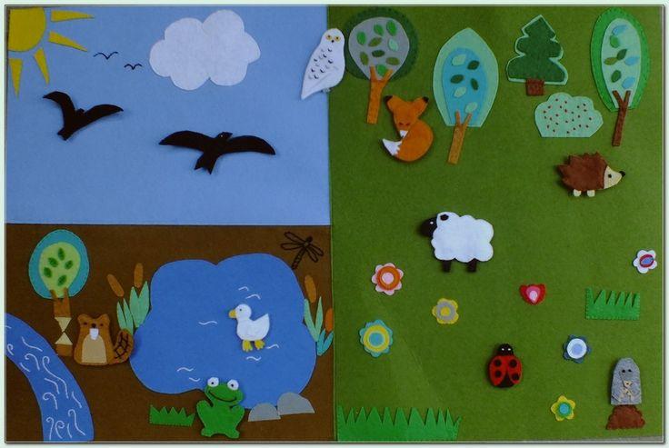 filcowa mapa ze zwierzętami, felt animals, filt djur