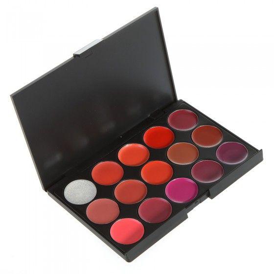 15 Color Lip Lipstick Gloss Palette Makeup Cosmetic Set