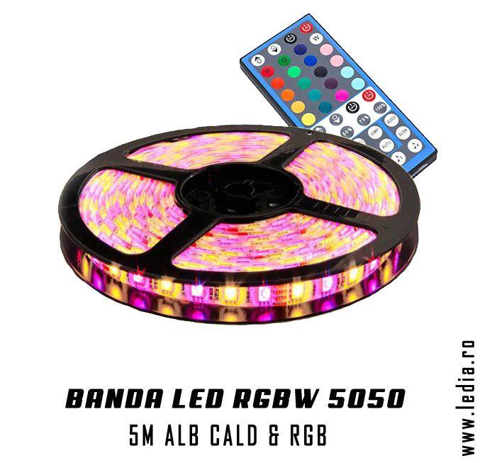 Banda cu LED RGBW 5050 SMD , banda cu leduri alb cald , lumina calda si banda led rgb , multicolora, set complet compus din controller , 5 metri banda si sursa de curent 5A #bandaled #rgbw