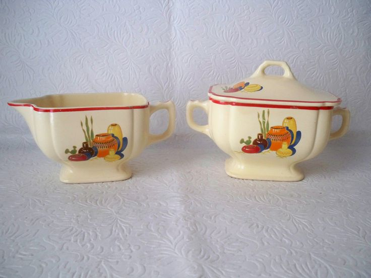 1950s Vintage Pottery Sugar & Creamer set made by Homer Laughlin USA with Spanish Southwestern design perfect for Cinco de Mayo celebration by VintageFindsbySuzi on Etsy