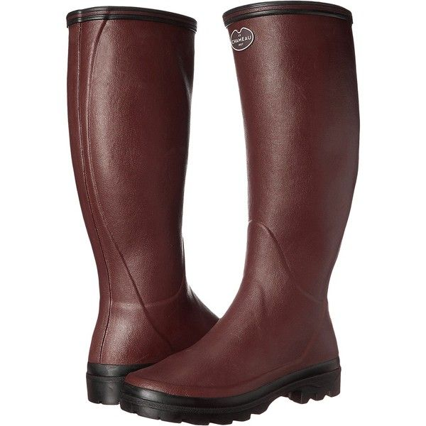 Le Chameau Giverny (Cherry) Women's Work Boots ($126) ❤ liked on Polyvore featuring shoes, boots, knee-high boots, red, red rubber boots, work boots, pull on work boots, red rain boots and slip on work boots