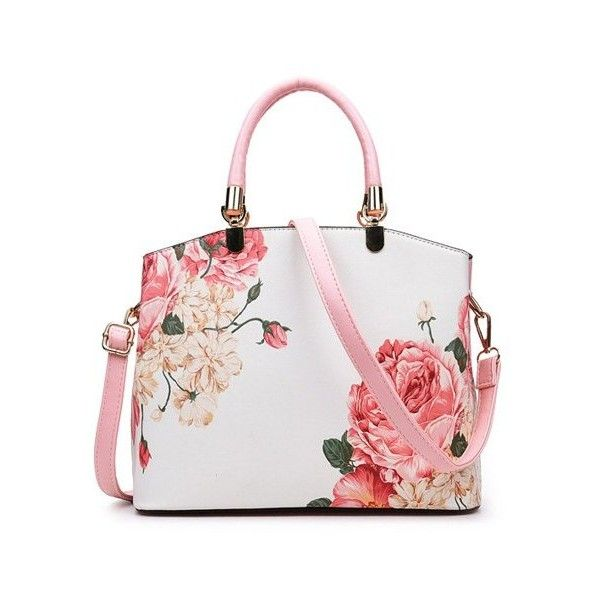 Metal Detail Flower Printed Handbag (115 BRL) ❤ liked on Polyvore featuring bags, handbags, floral handbags, hand bags, floral bags, floral purse and flower print bag