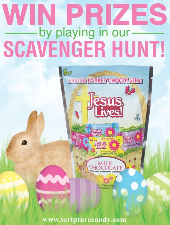 We are excited to announce our first ever Scripture Candy Scavenger Hunt!  There will be one task per week for the 5 weeks leading up to Easter. You will be entered to win the task that you complete. We will draw one winner at the end of each week. To enter the contest you must follow the rules posted for each task in the correct time frame. To view each task visit our website and click the 'Events' tab. Good luck and happy hunting!
