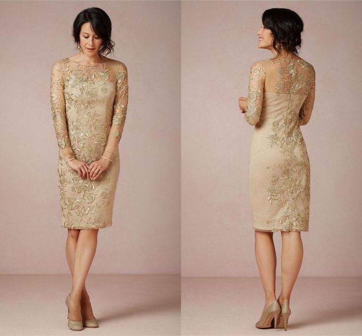 Wholesale Mother of the Bride Dress - Buy Sheath Bateau Gold Appliques Illusion Neckline Champagne Mother of the Bride Dresses Knee Length Plus Size Popular Mother of the Groom Dress, $136.27   DHgate.com