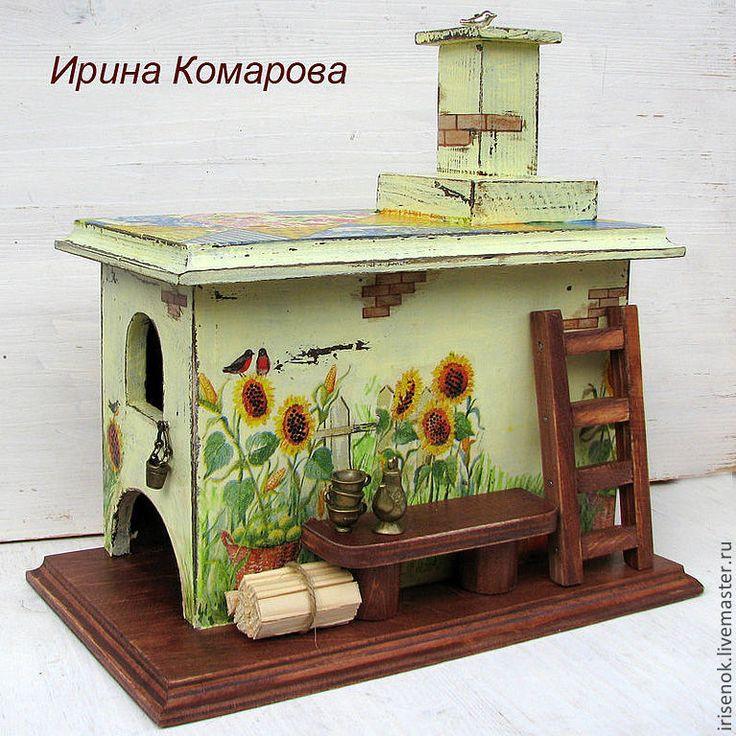 Купить Печка-домик для чая - чайный домик, домик для чая, русская печка, Декупаж, подсолнуки