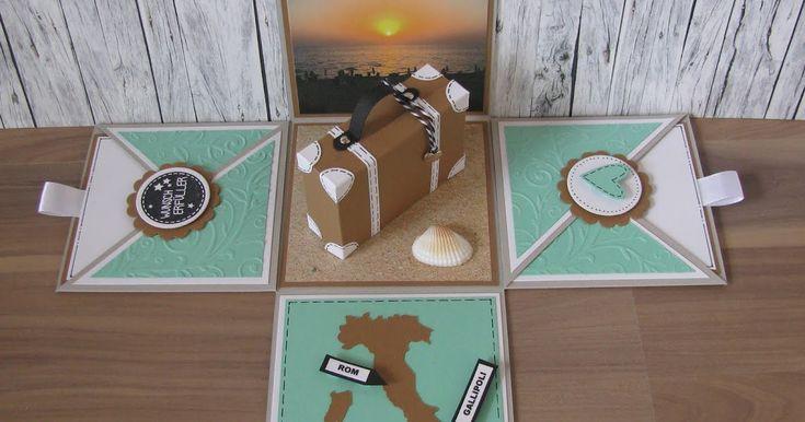 Geschenkbox Italien Reise Koffer Gutschein Explosionsbox Überraschungsbox Ferien